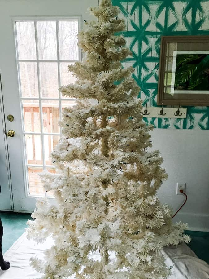 flocked white tree