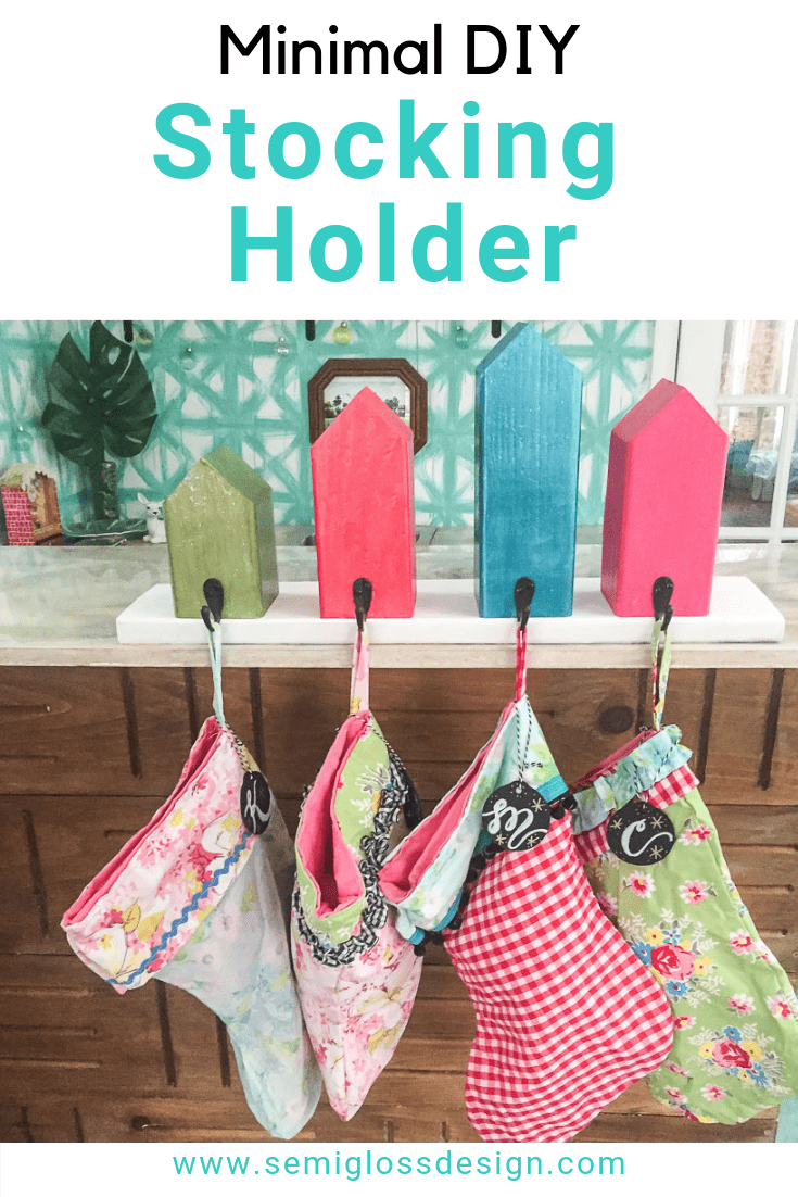 wooden house diy stocking holder