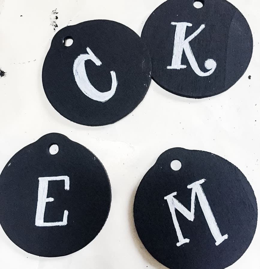initials on chalkboard ornaments