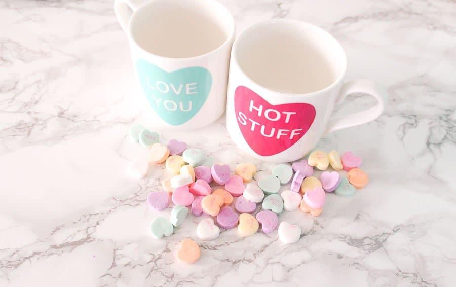 conversation hearts mug