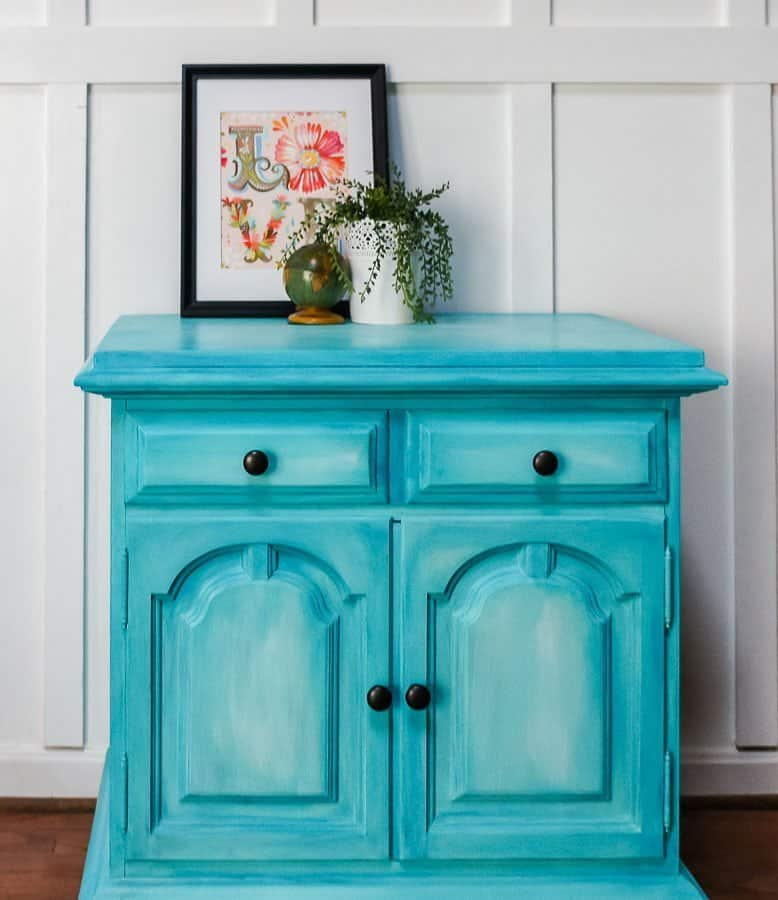 layered chalk paint aqua buffet