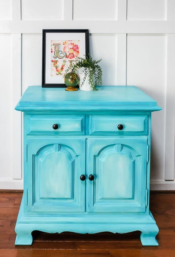aqua layered chalk paint cabinet