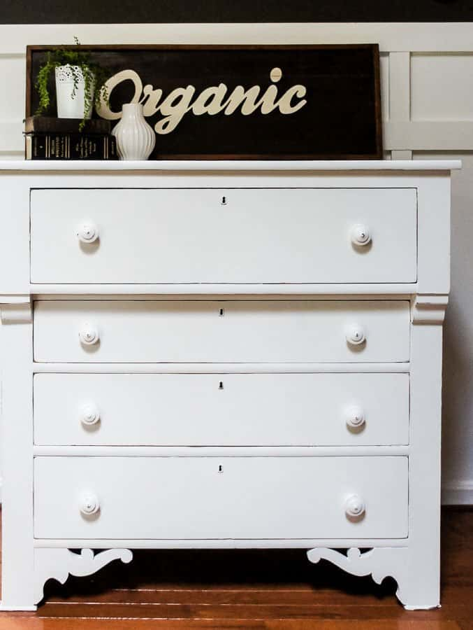 white painted dresser makeover