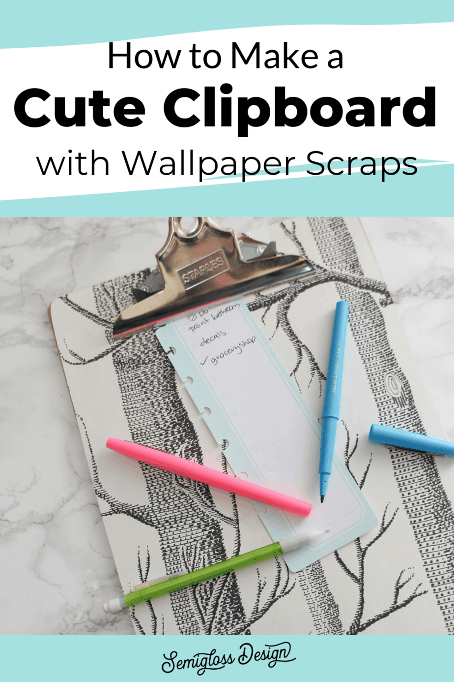 DIY clipboard with wallpaper scraps