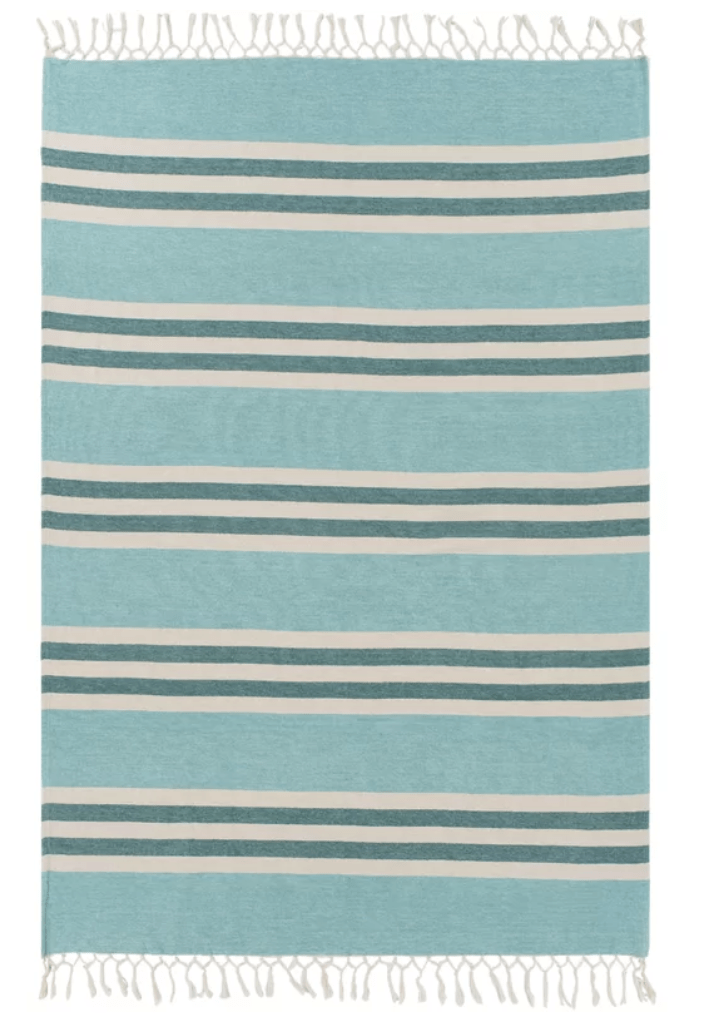 aqua striped blanket