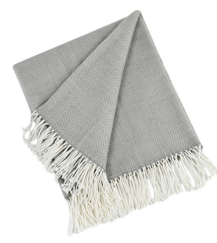 gray herringbone throw blanket