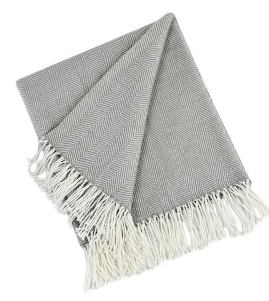 gray herringbone throw blanket