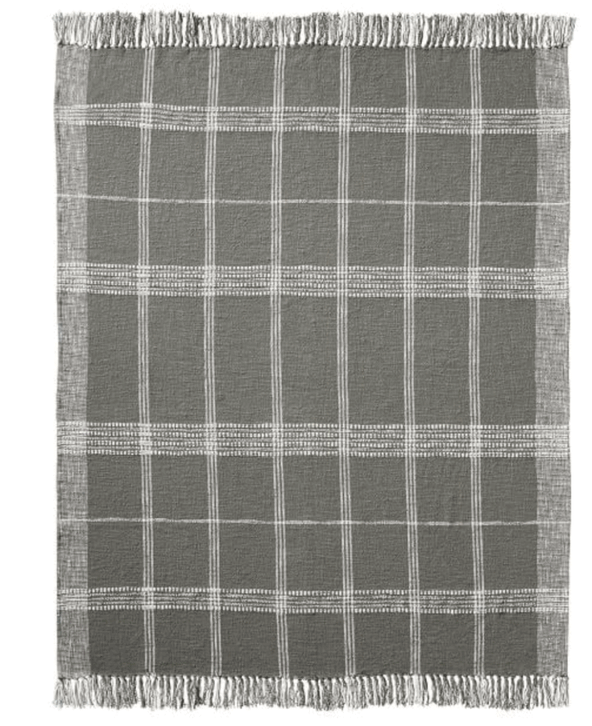 gray windowpane plaid blanket