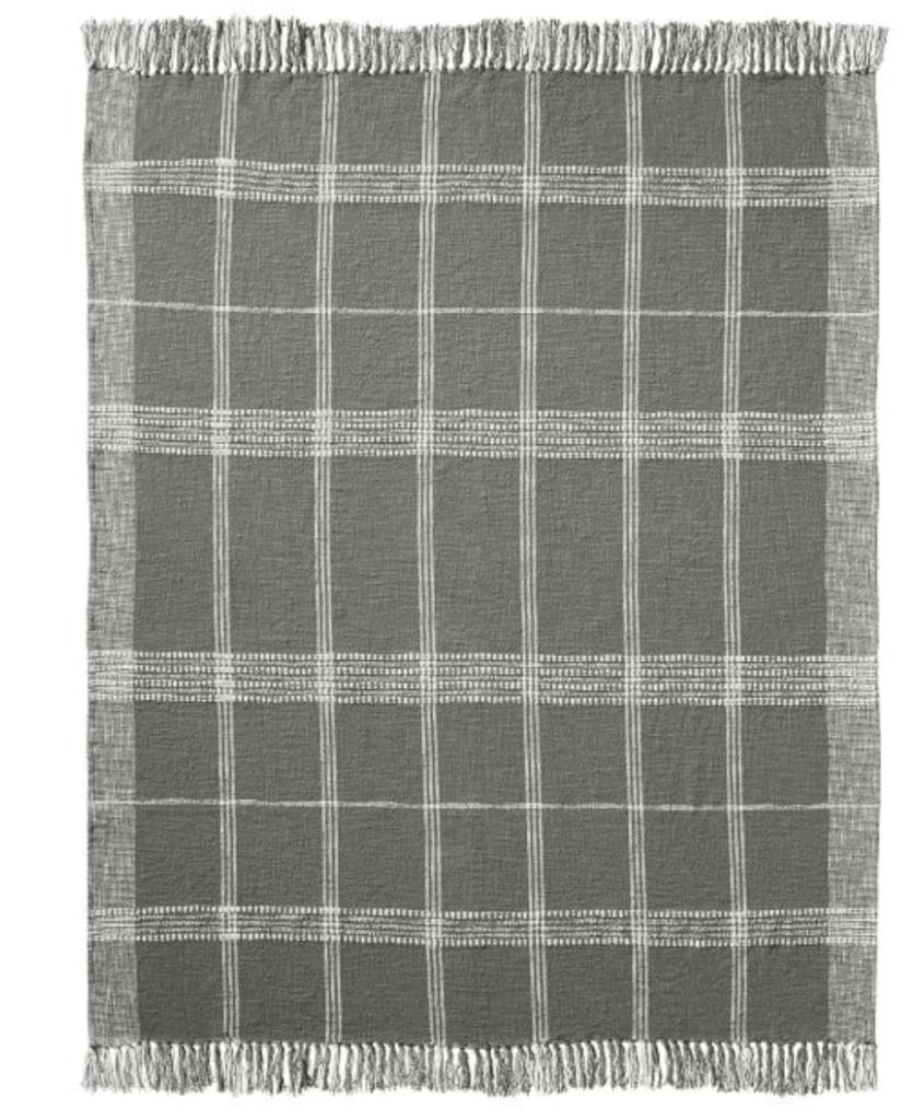 gray windowpane plaid blanket