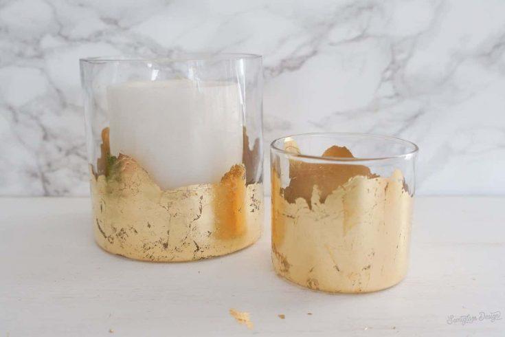 Easy to Make Gold Leaf DIY Candle Holder