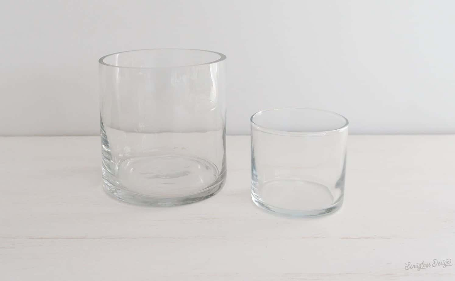 plain glass candle holder