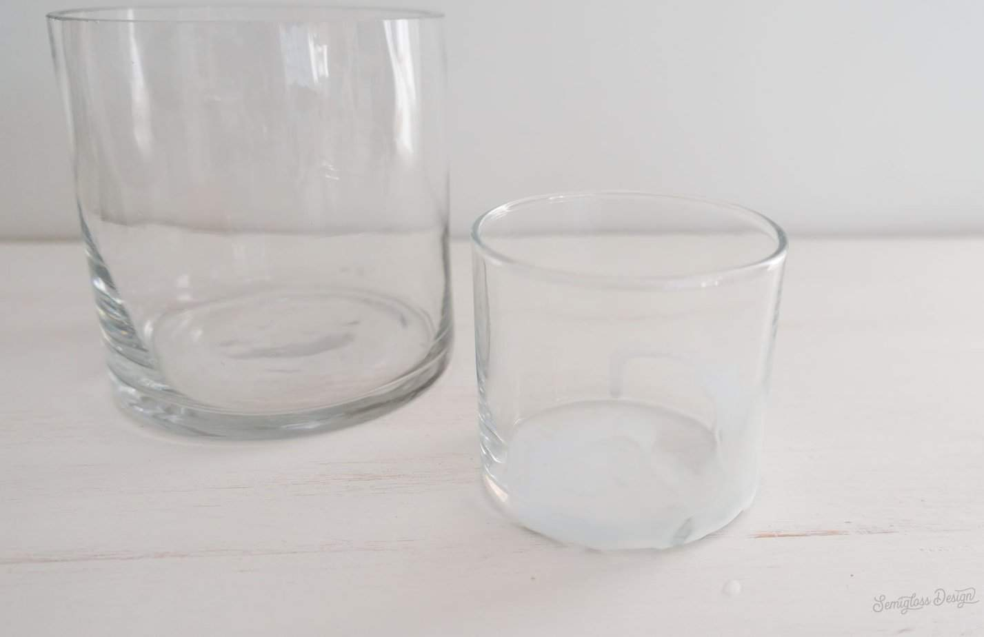 adhesive on glass candle holder