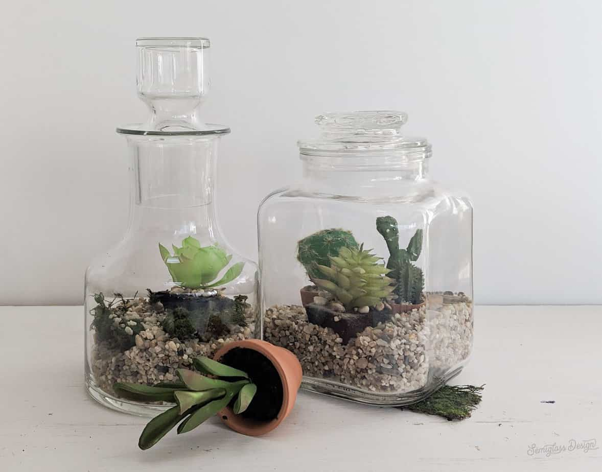 fake succulents in upcycled jars