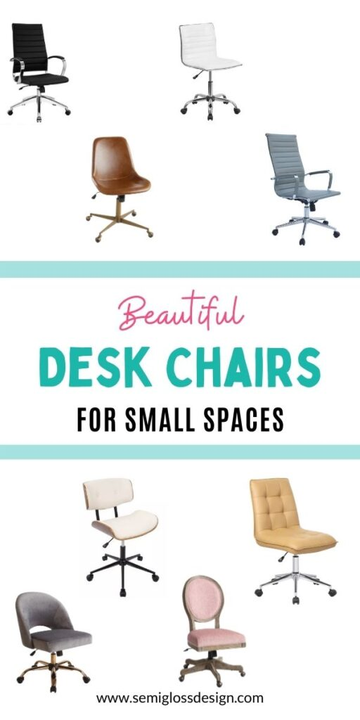 pin image - collage of desk chairs that are narrow