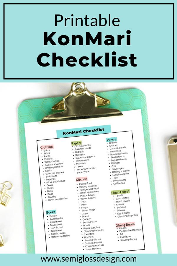Printable KonMari checklist