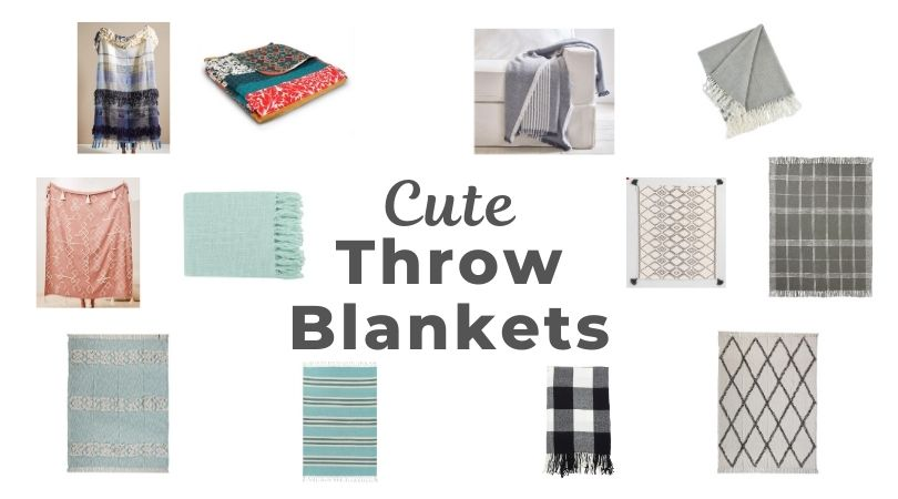 cute throw blankets in bright colors and neutrals