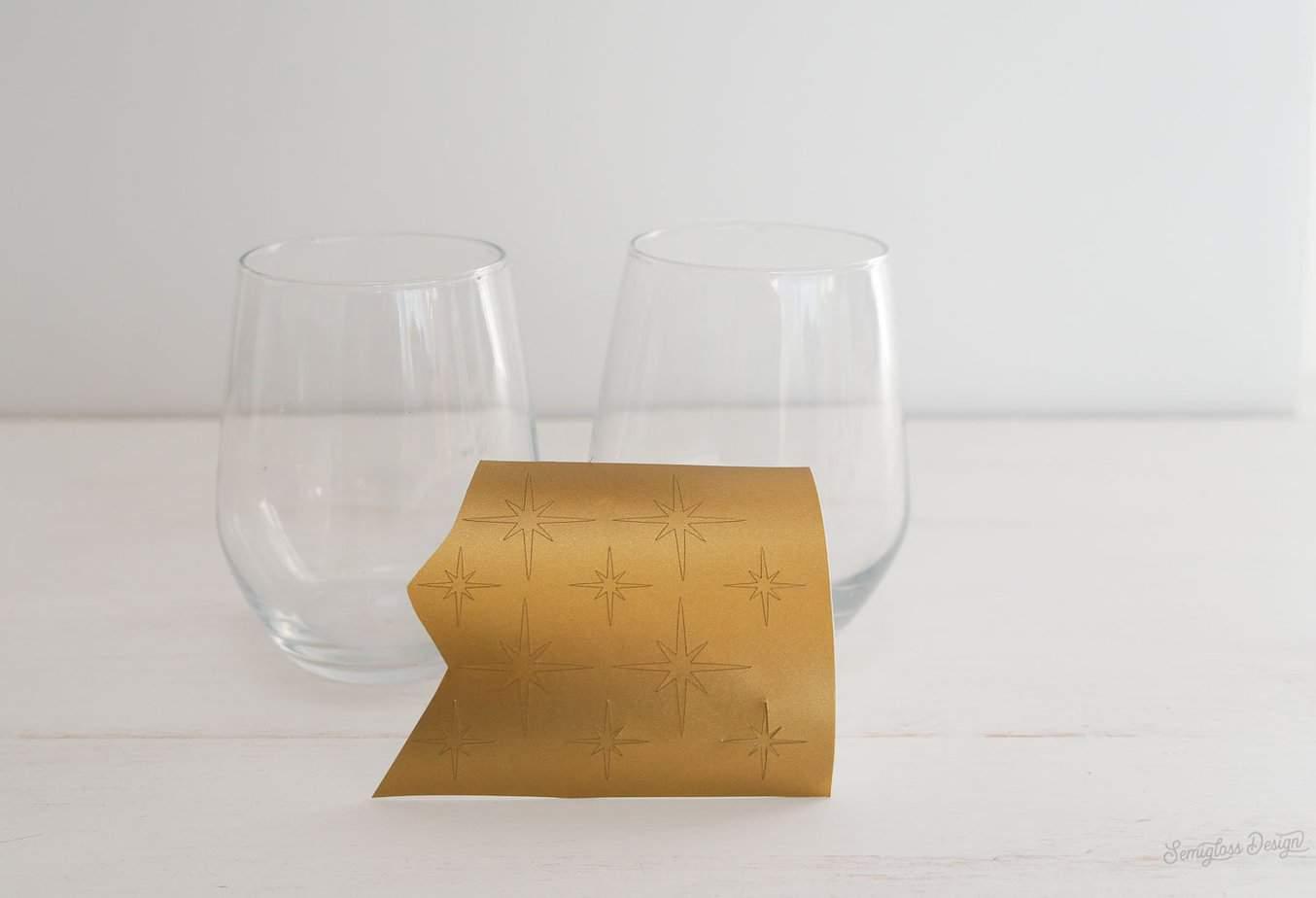 vinyl starbursts and wine glasses