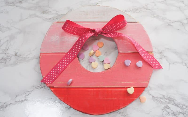Wood wreath for valentine's day