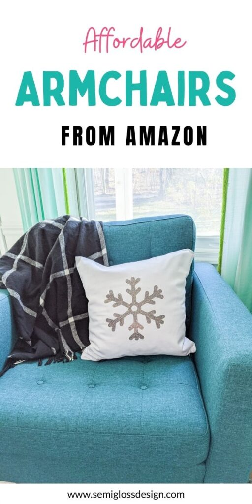 pin image - teal chair with snowflake pillow