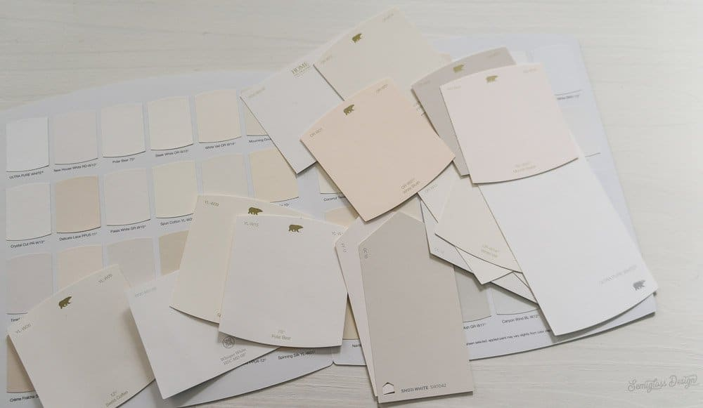 white paint chips from Behr