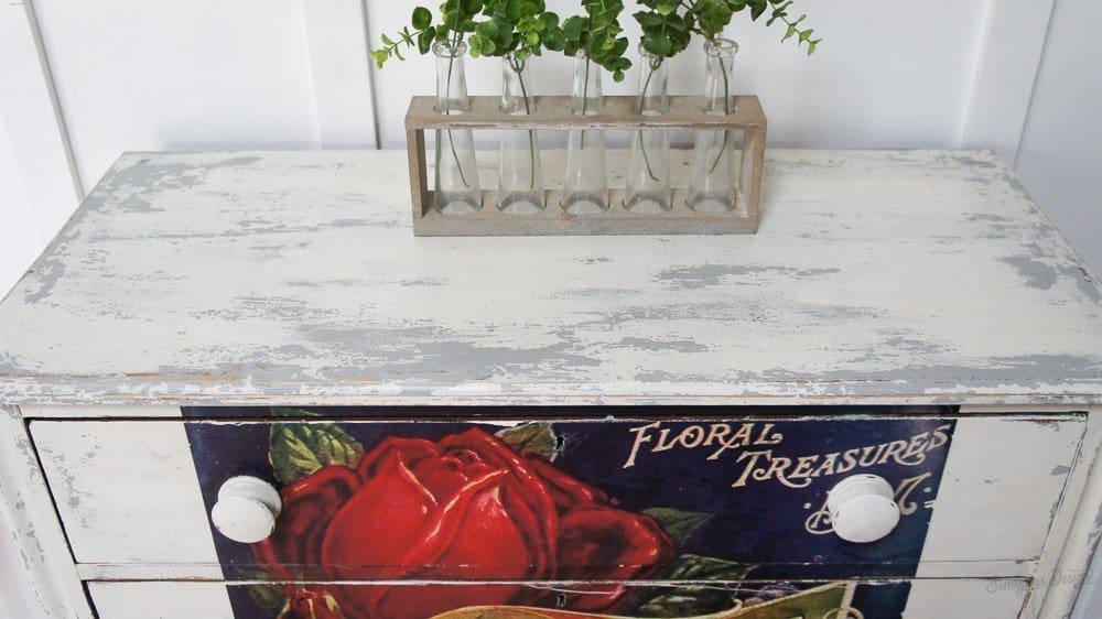 iod rose transfer on dresser