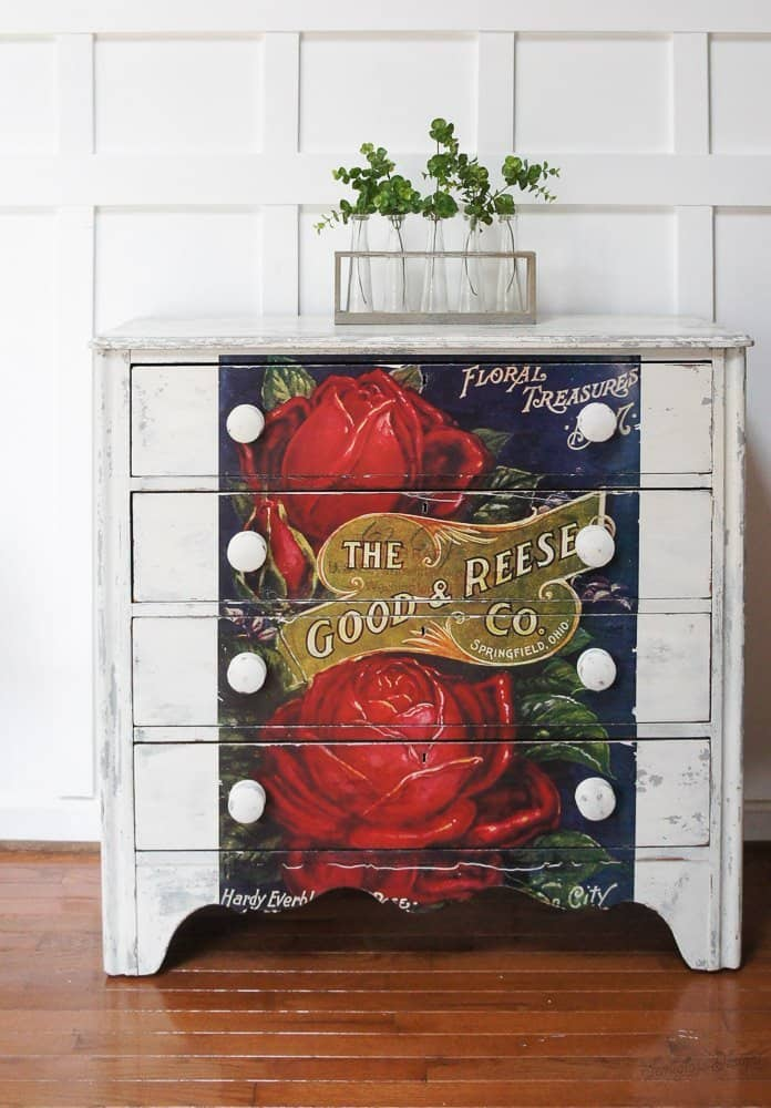 rose transfer on milk painted dresser