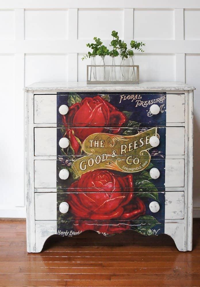 rose transfer on milk painted dresser
