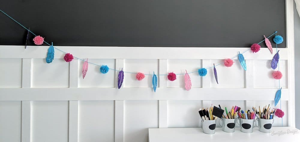 boho diy garland on wall