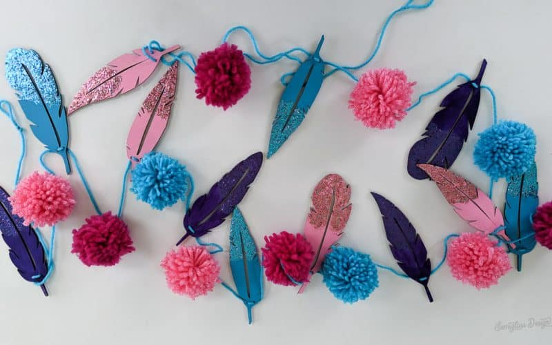feather and pom pom garland