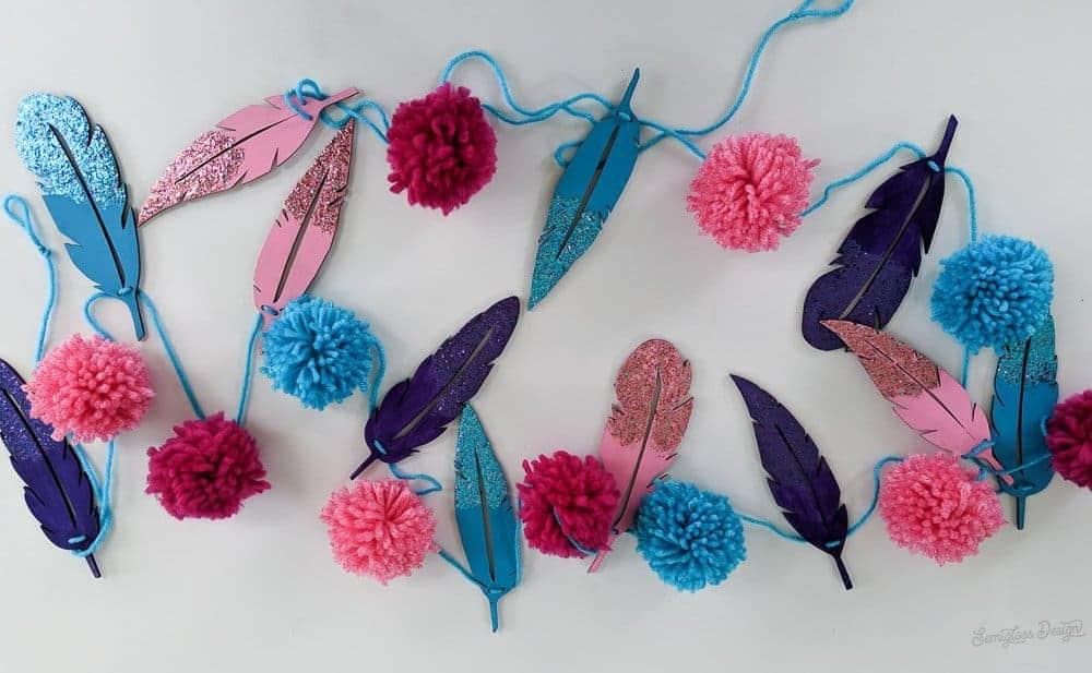 feather and pom pom garland