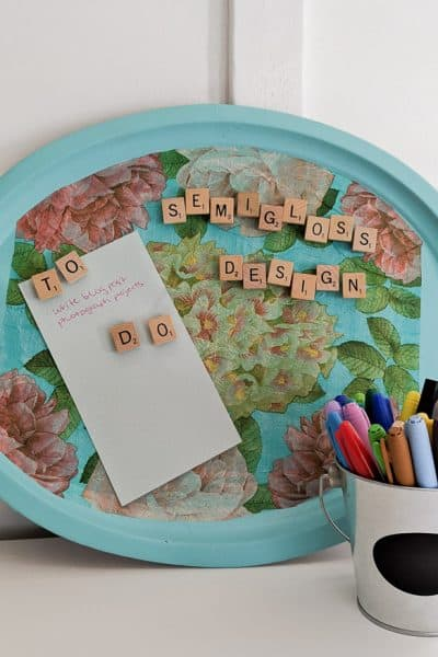 metal tray upcycled into DIY magnetic board