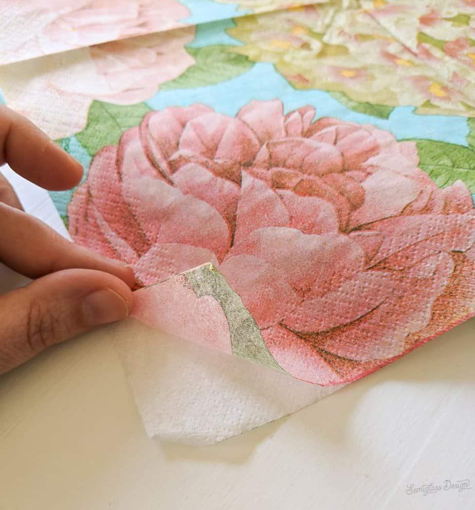 peel apart paper napkin for decoupage