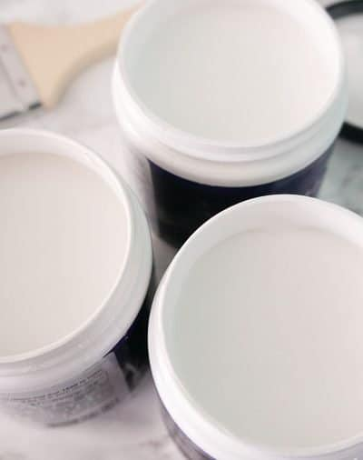 white paint pots