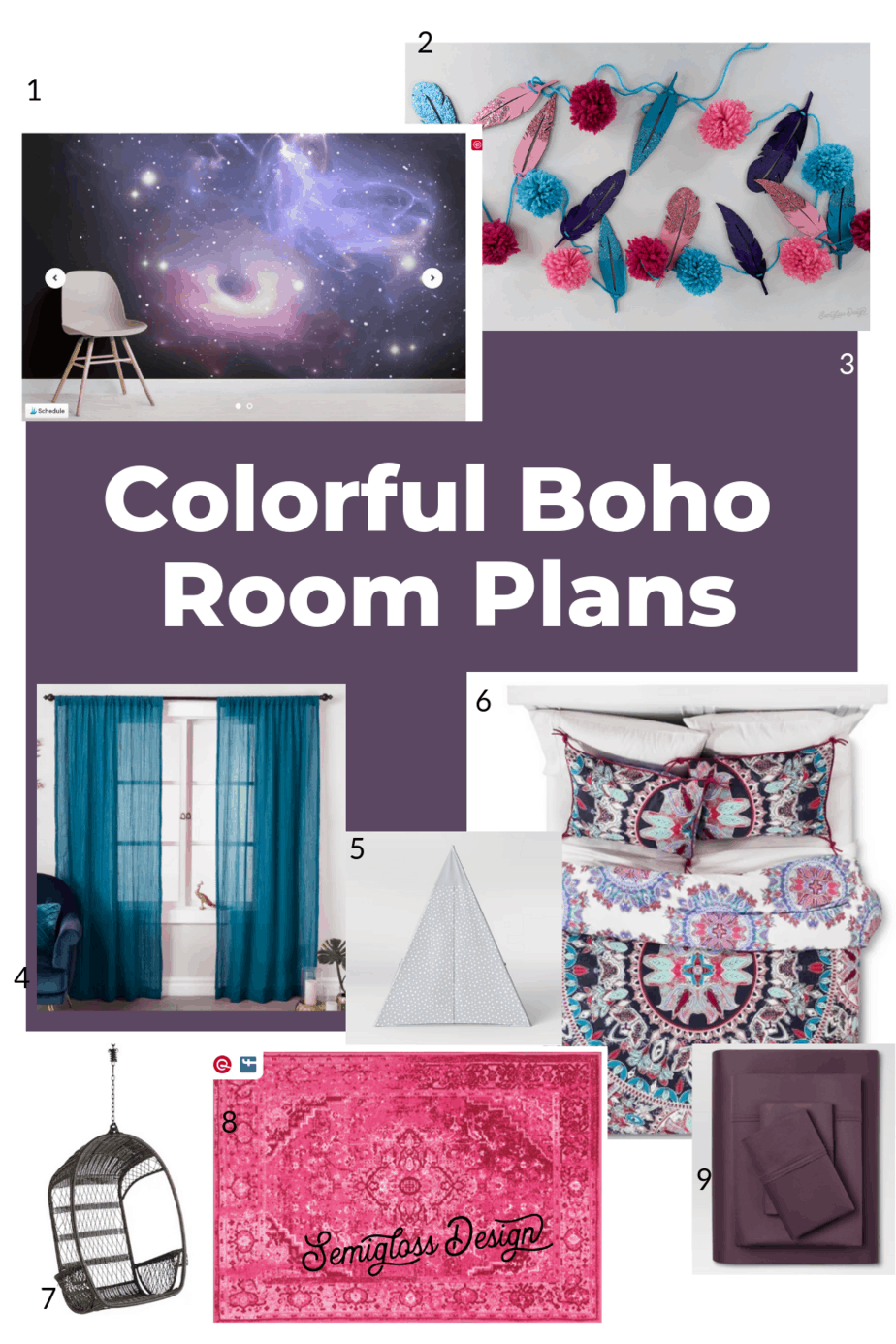 colorful boho bedroom plans