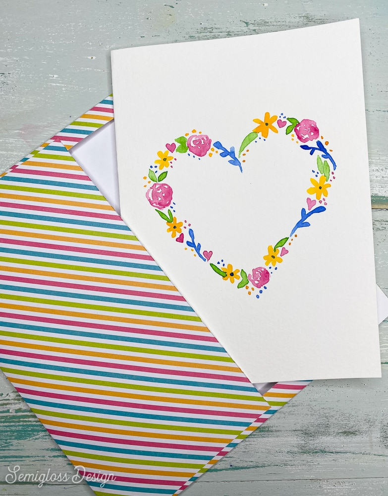 striped envelope with watercolor heart card