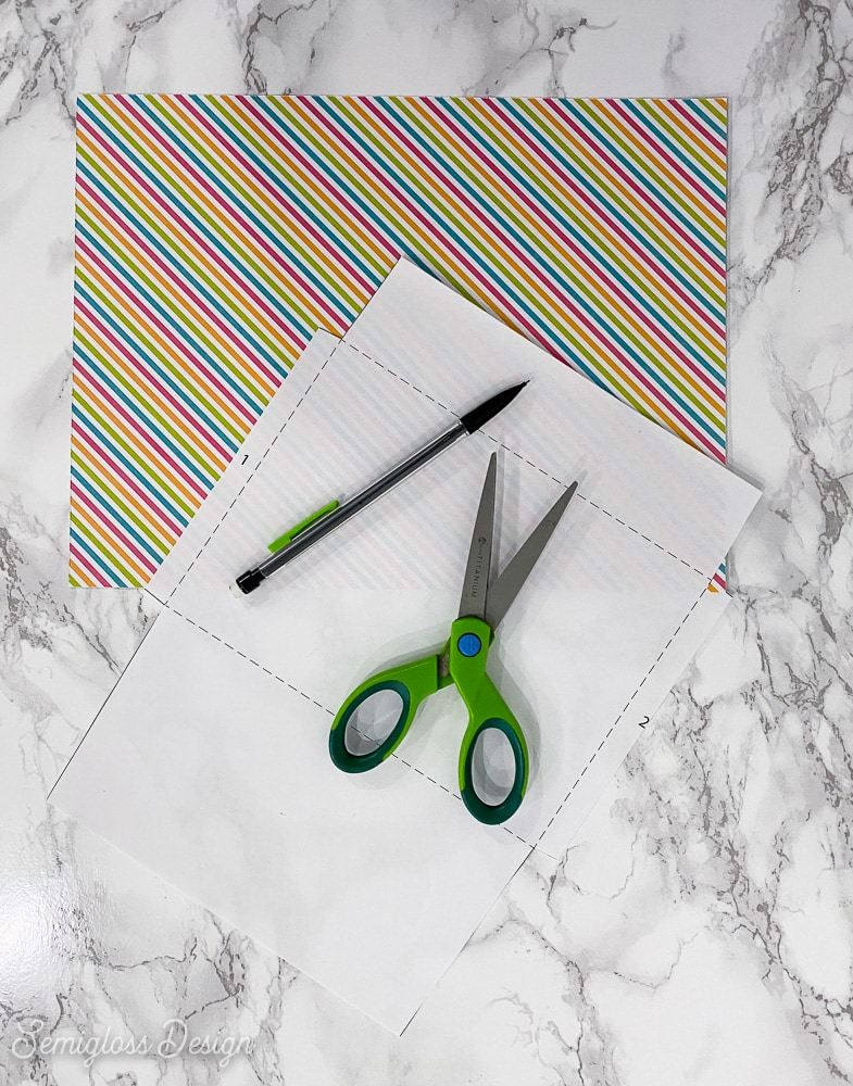 striped paper and envelope template