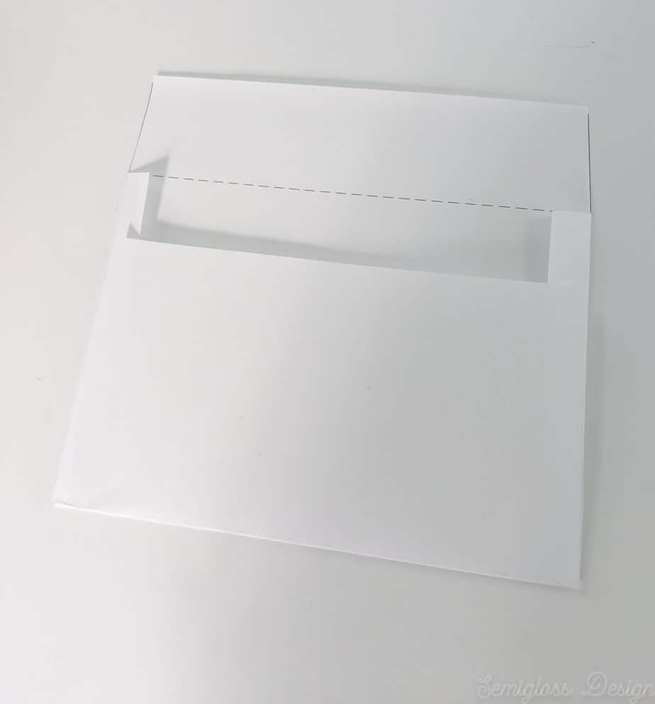bottom of paper folded up for envelope