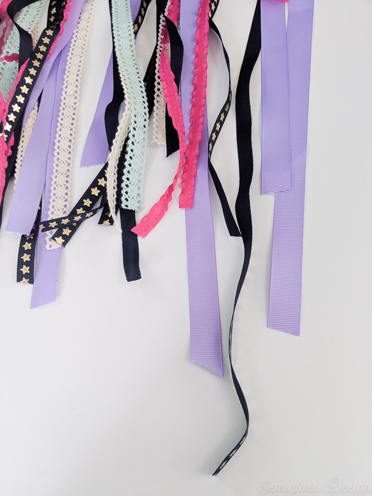 lengths of colored ribbon