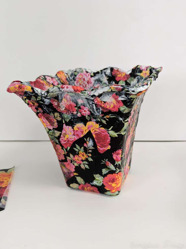 planter with decoupage tissue paper