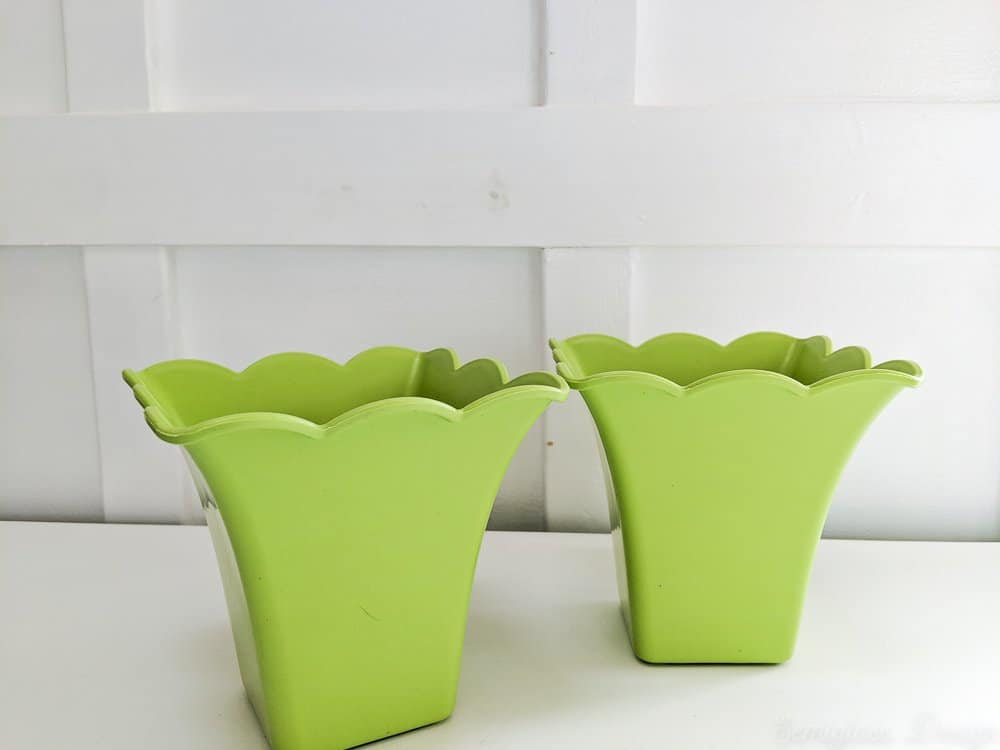 green scalloped planters