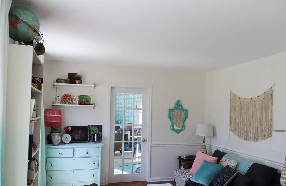 living room with white painted walls