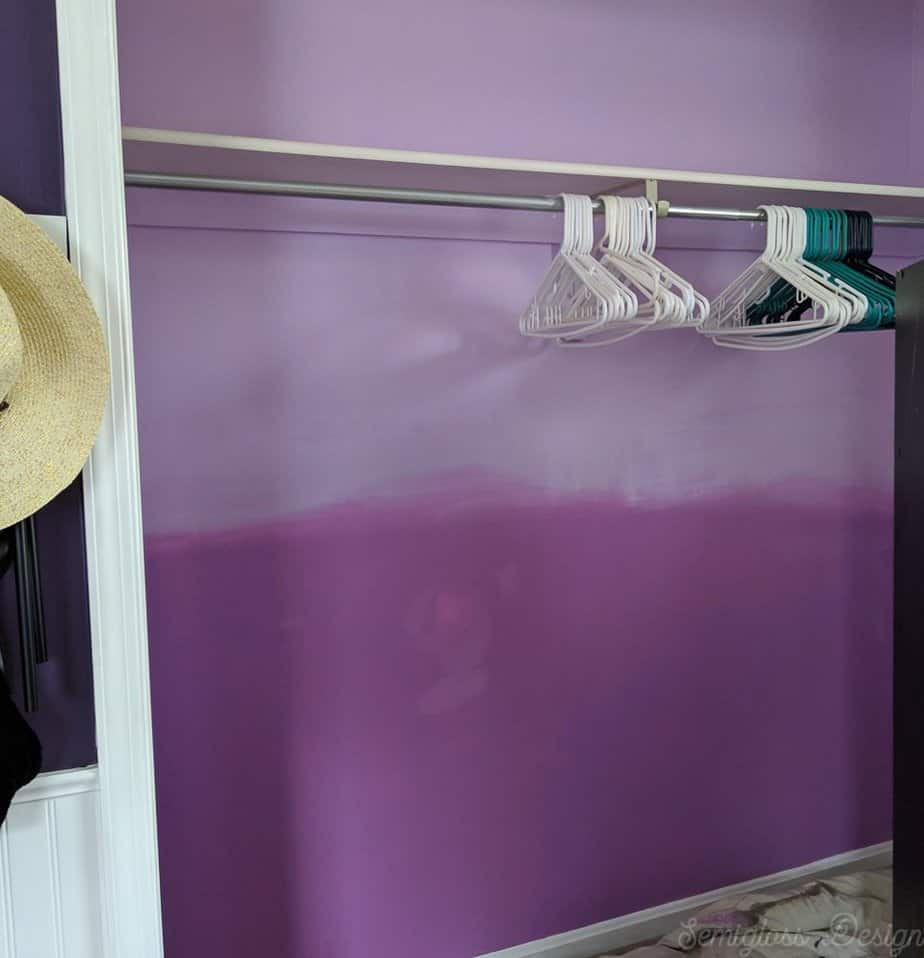 purple faded paint in closet