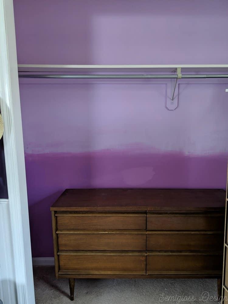mcm dresser in purple ombre closet