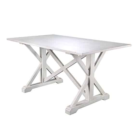 Cardwell Rectangular Dining Table - Farmhouse Style w/ Distressed White Wood Grain - Chic Design