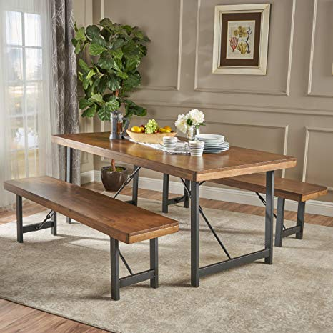 Blane Farmhouse Cottage 3 Piece Natural Walnut Finished Rubberwood Table and Bench Set