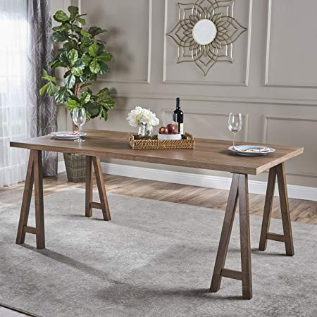 Sabrina Farmhouse Wood Finish Dining Table (Natural Walnut)