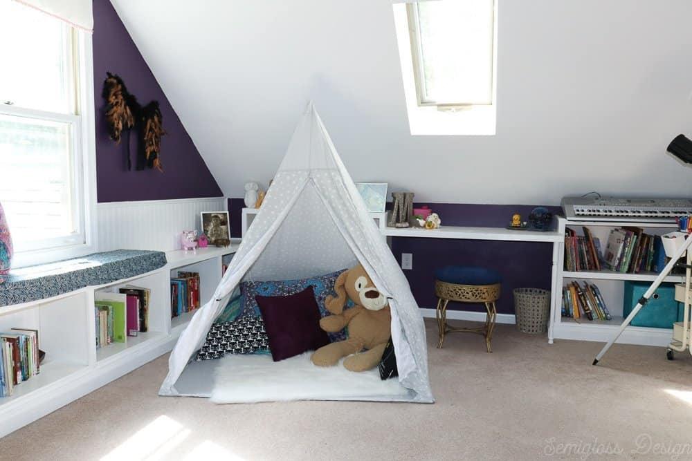 play tent in boho bedroom
