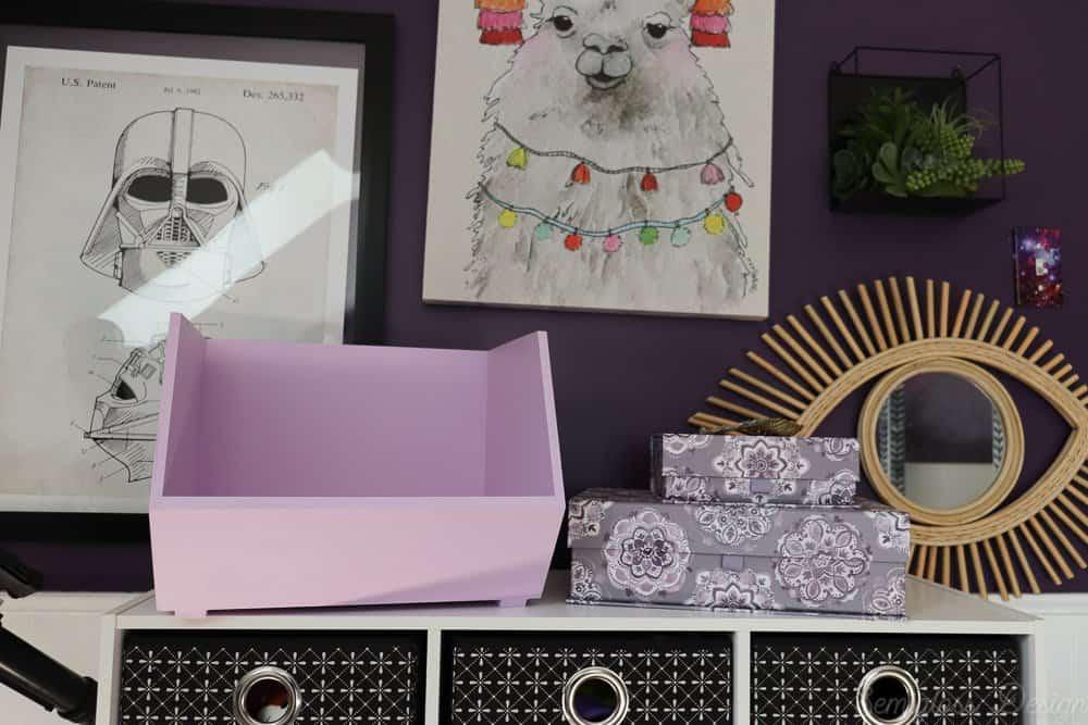 purple bins in tween bedroom for art storage