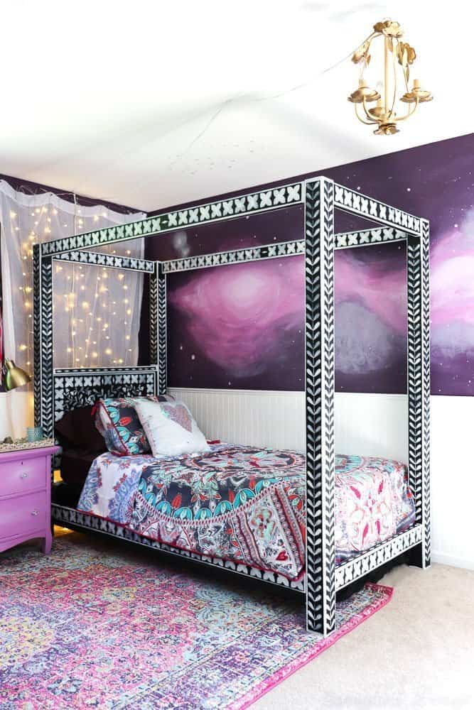 boho bedroom with color and pattern galore