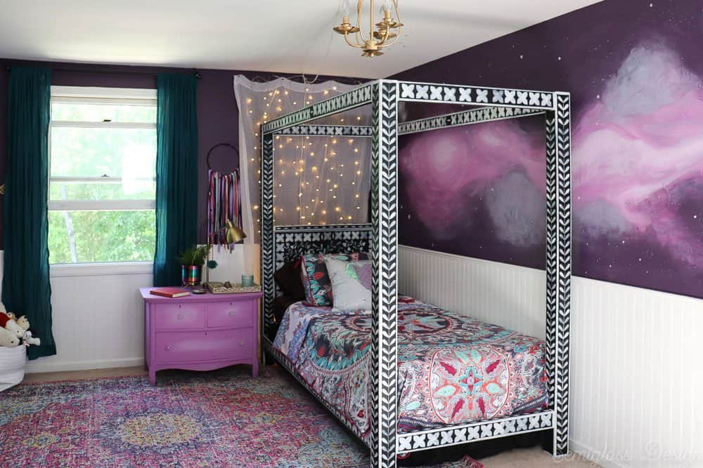 purple boho bedroom with bone inlay canopy bed